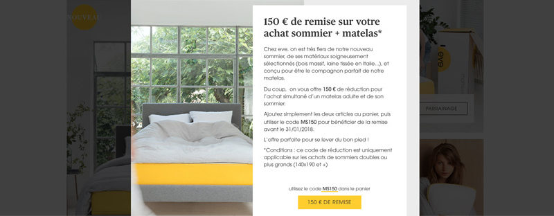 150 euros reduction Eve matelas